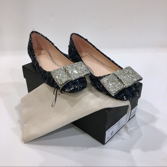 J. Crew Shoes - NEW J.Crew Tweed Glitter Bow Flats